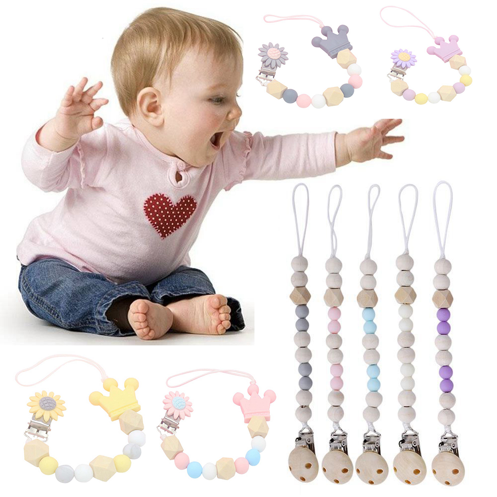 Flower Silicone Baby Pacifier Clips Silicone Crown Pacifier Chain Holder Baby Dummy Clips Holder Gifts