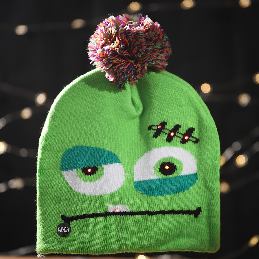 Christmas Halloween Kids Knitted Hats New Year Light Up Skull Ghost Beanie Skull Cap Adult Children Wool Party Supplies Gifts