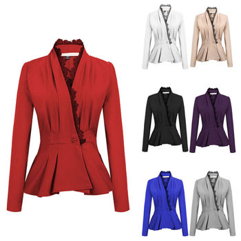 Acabado de encaje para mujeres un botón de manga larga ajustado chaqueta Peplum Coat FashionZ