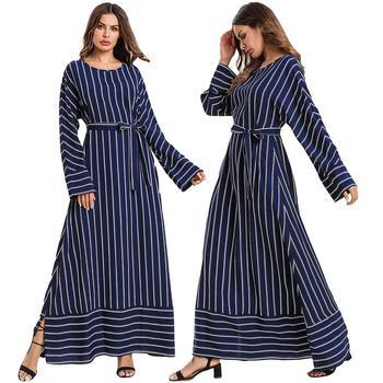 Abaya mujer suelta rayas manga larga Maxi vestido musulmán Kaftan bata cóctel árabe islámico Dubai fiesta con cinturón ropa de Ramadan