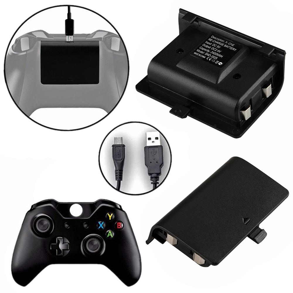 2pcs 2400mAh Batteries + USB Cable For XBOX ONE Controller Charging Kit Wireless Gamepad Rechargeable Backup Battery Pack