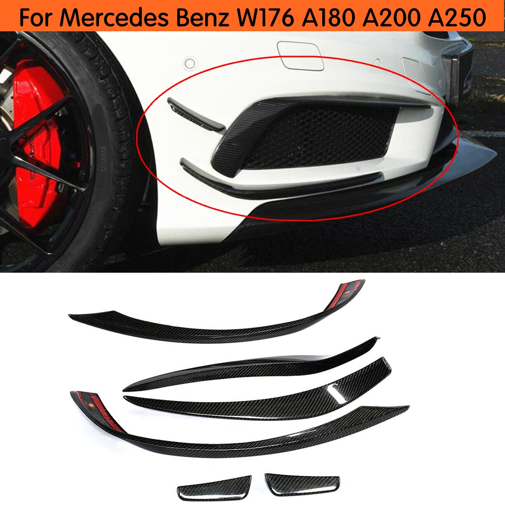 <font><b>W176</b></font> Front Bumper Splitter Lip Carbon Fiber Canards Spoiler For <font><b>Mercedes</b></font> <font><b>Benz</b></font> A180 <font><b>A200</b></font> A250 A45 Look Anterior lip 2013-15 image