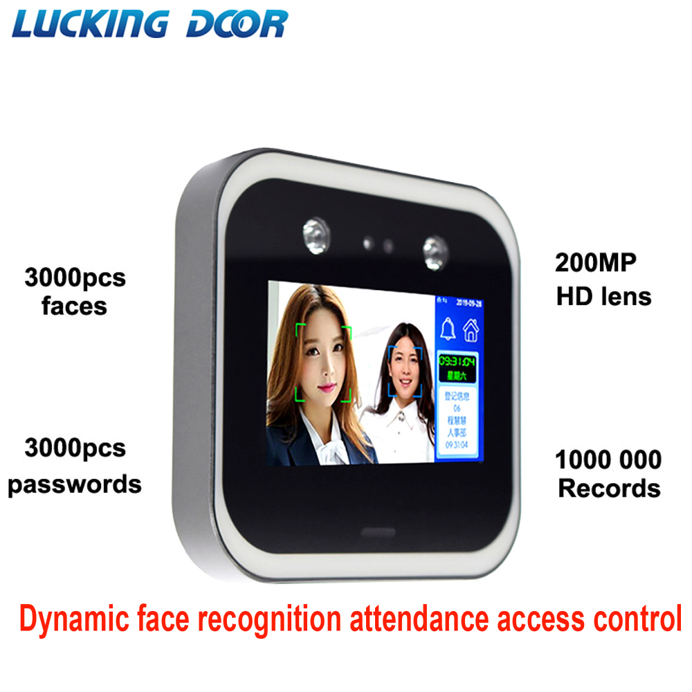 5 Inch Touch Screen Dynamic Face Recognition Time Attendance Access Control System Employee Time Clock Face Dynamic Attendance