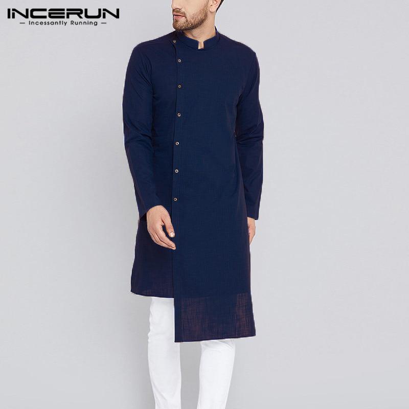 INCERUN Men Long Shirt Cotton Long Sleeve Casual Solid Retro Men Shirt Vintage Irregular Shirts Pakistan Tops Men Indian Clothes
