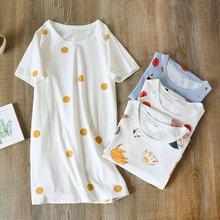 Летняя женская одежда для сна Женская хлопковая ночная рубашка
