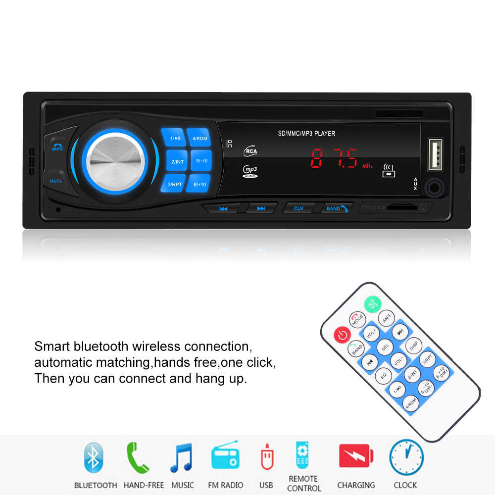 1 Din Mobil Stereo MP3 Pemain Satu Mobil Stereo MP3 Player Di Dash Kepala Unit Bluetooth USB AUX FM Radio receiver Untuk Toyota Ford