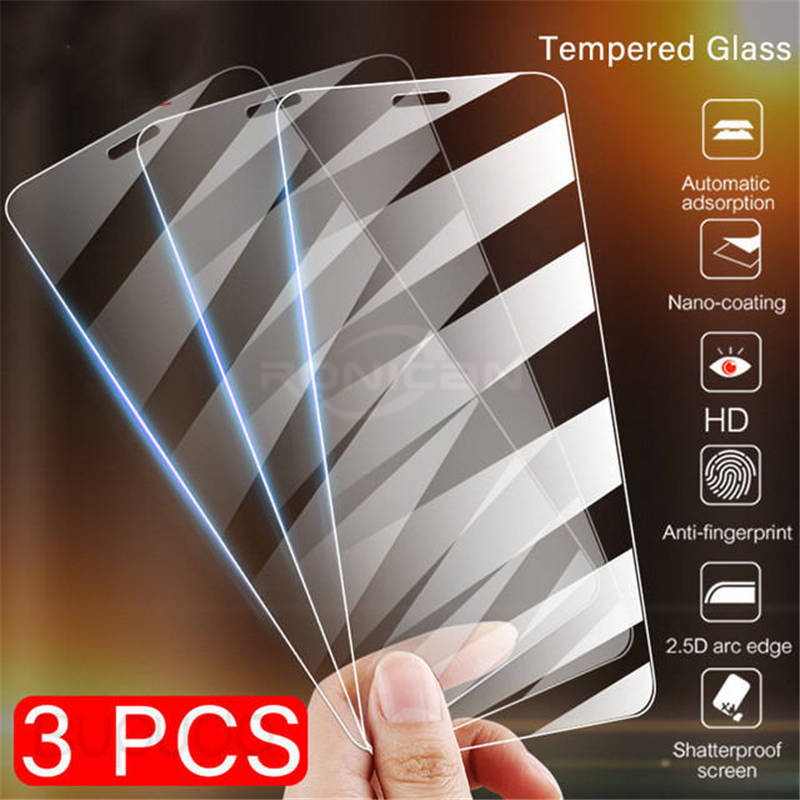 3Pcs Tempered Glass On The For  IPhone X XS Max XR Tempered Glass For IPhone 7 8 6 6s Plus 5 5S SE 5c 4 4S Creen Protector Film
