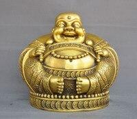 wedding decoration 12Chinese Buddhism temple bronze wealth coin Happy laugh Maitreya Buddha statue