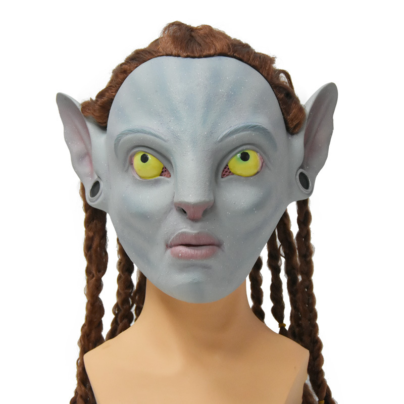 Movie <font><b>Avatar</b></font> Cosplay <font><b>Mask</b></font> Latex Rubber Carnival Party Costume Headgear image