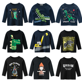 Kids Boys T-shirts Baby Girls Long Sleeve Tops Tee Children Autumn Cotton Print Cartoon Dinosaur Car T Shirts Clothing Clothes children t shirt long sleeves kids boys girls cotton tops baby dinosaur print cartoon clothing tee 2 8 years clothes full