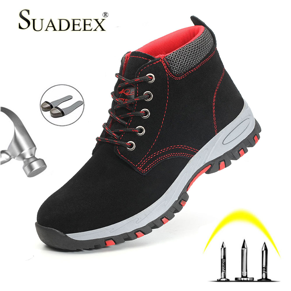 Promo SUADEEX Work Boots Steel Toe Cap Mens Safety Shoes Anti-smashing Construction Working Shoes Men Protect Boots For Male Plug Size