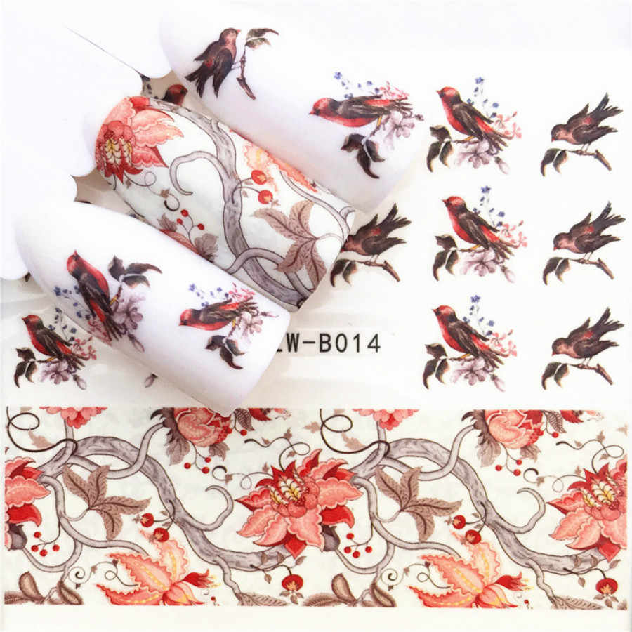 1 Pcs Sexy B012 Zwart Patroon Nail Slider Zwart Rusland Brief Sticker Zomer Flamingo Decals Adhesive Manicure Nail Decorations