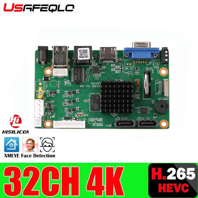 H.265 32CH 4K NVR شبكة DVR مسجل فيديو رقمي مجلس IP كاميرا ماكس 8T كشف الحركة OVNIF CMS XMEYE SATA خط P2P سحابة