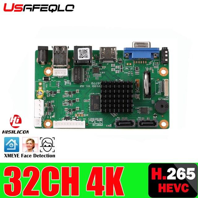 H.265 32CH 4K NVR ağ DVR dijital Video kaydedici kurulu IP kamera Max 8T hareket algılama onvif CMS XMEYE SATA hattı P2P bulut