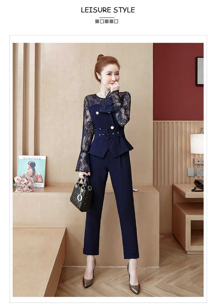 Blue Lace Office Two Piece Sets Outfits Women Plus Size Flare Sleeve Tops And Pants Suits Elegant Ladies Ol Style Korean Sets 35