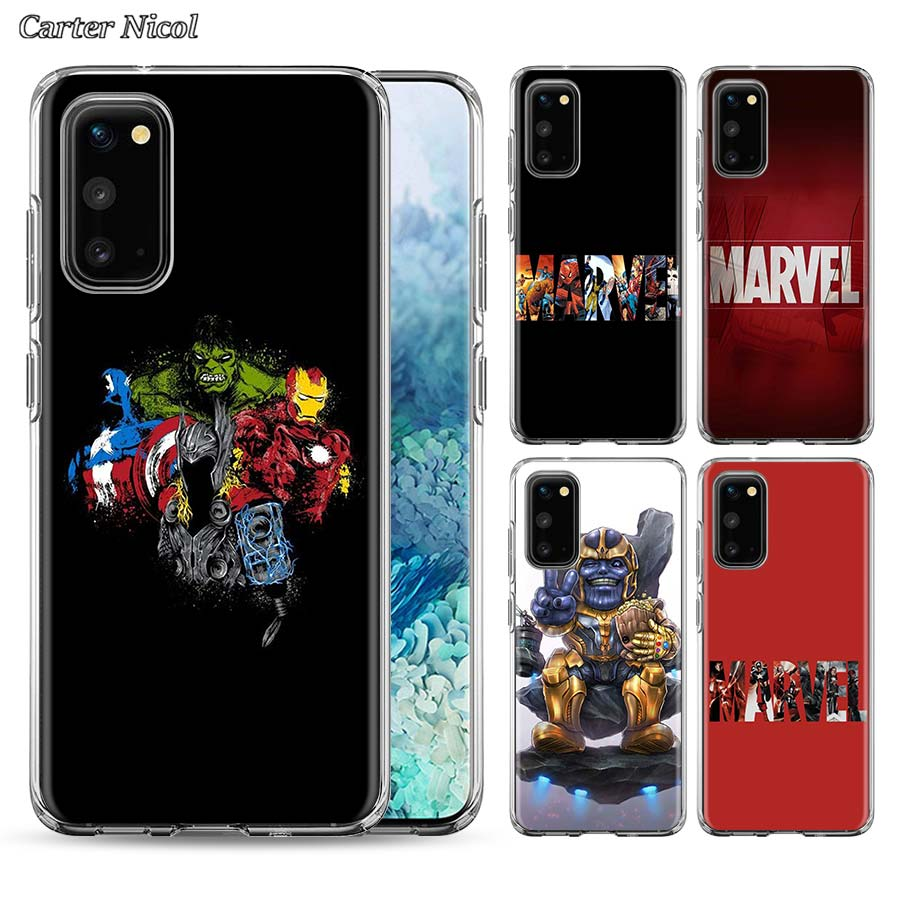 <font><b>Marvel</b></font> Comics <font><b>logo</b></font> Silicone Soft <font><b>Case</b></font> for <font><b>Samsung</b></font> <font><b>Galaxy</b></font> S9 S10 S20+ Note 8 9 10 Plus A50 A70 A51 A70 <font><b>A30</b></font> A10 TPU Cover image