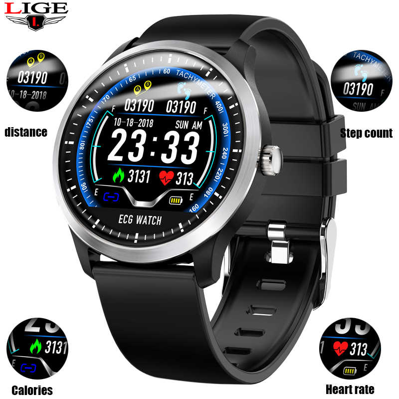 LIGE N58 ECG PPG smart watch with ECG EKG display, dynamic ECG heart rate monitor blood pressure smart Wristband pulse watch