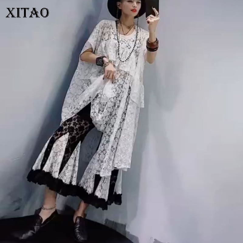 XITAO Hong Kong Fashion Irregular Hollow Out Lace Casual Women'set 2020 Summer Solid Pullover Elastic Waist Pants Suits DMY5039