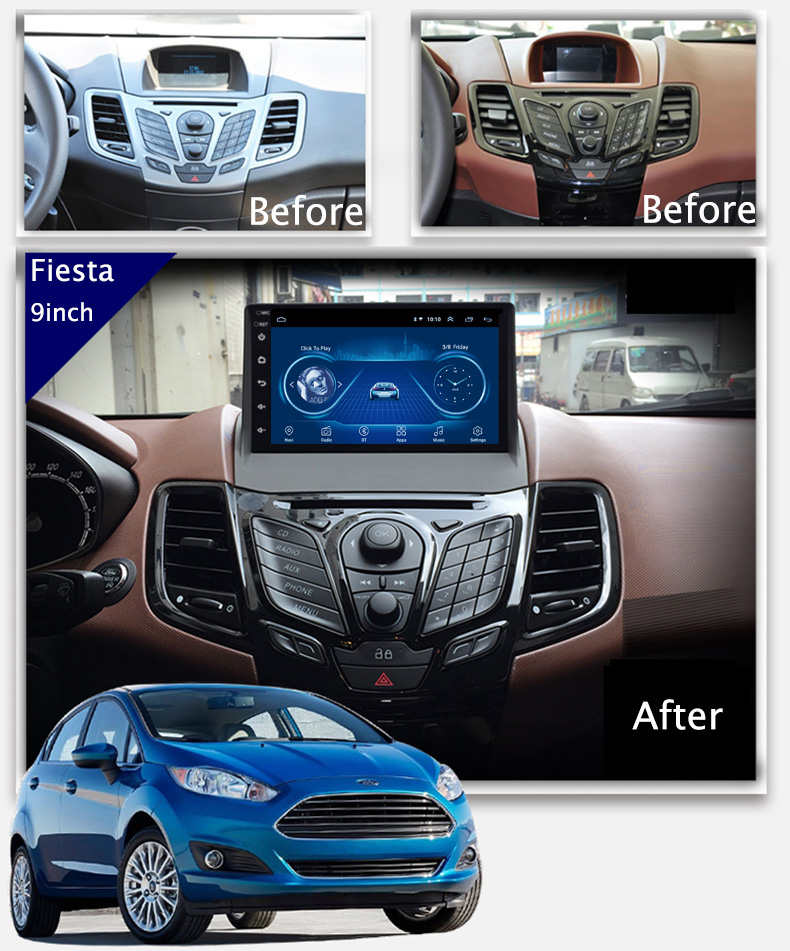Super Slim Touch Screen Android 9.1 <font><b>GPS</b></font> Navigation for <font><b>Ford</b></font> <font><b>Fiesta</b></font> car radio Stereo Multimedia Bluetooth wifi head unit 2009+ image