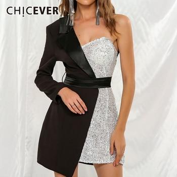 CHICEVER Patchwork Hit Color Women's Dress Asymmetrical Collar One Shoulder Long Sleeve Tunic High Waist Female Dresses 2020 New