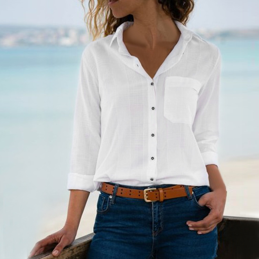 Collar Tops Shirts Blouse Work-Wear Blusas Long-Sleeve Turn-Down Office Lady Femme Plus-Size