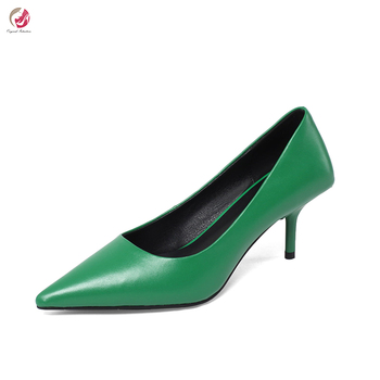Original Intention New Stylish Friut-Green Black White Pumps Woman Pointed Toe Thin Heels Sexy Elegant Party Dress Shoes Female