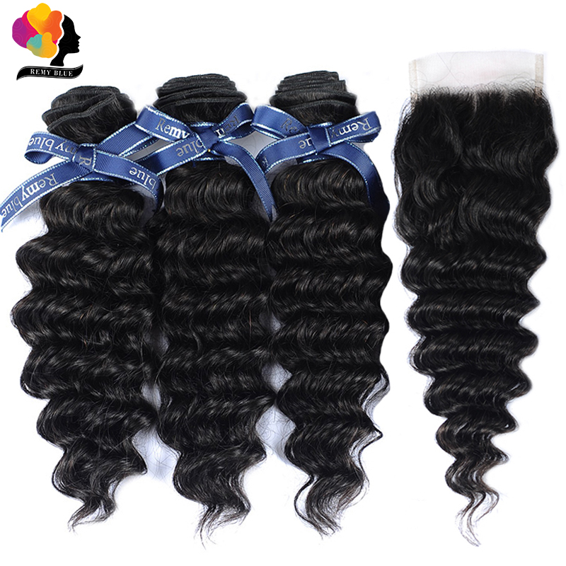 Brazilian Deep Wave Bundles With Closure Natural Black Color Human Hair Weaves With Closure 100 Remy