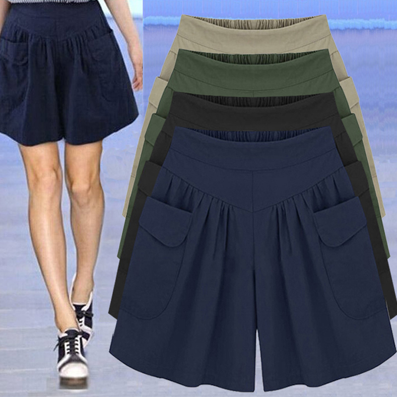 NEW Ladies Shorts Loose Breathable Solid Color Wide Leg Shorts Pants For Summer