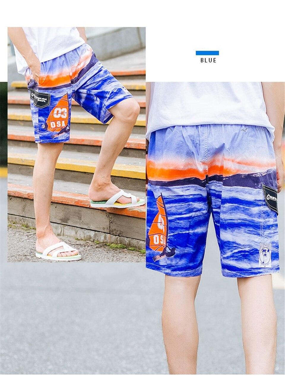 Bermuda shorts masculino secagem rápida verão masculino