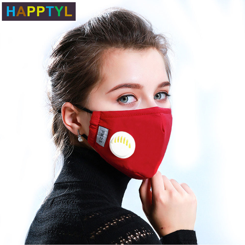 HAPPTYL Fashion Unisex Cotton Breath PM2.5 Mouth Mask Anti-Dust Anti Pollution Mask Cloth Activated Carbon Filter Respirator