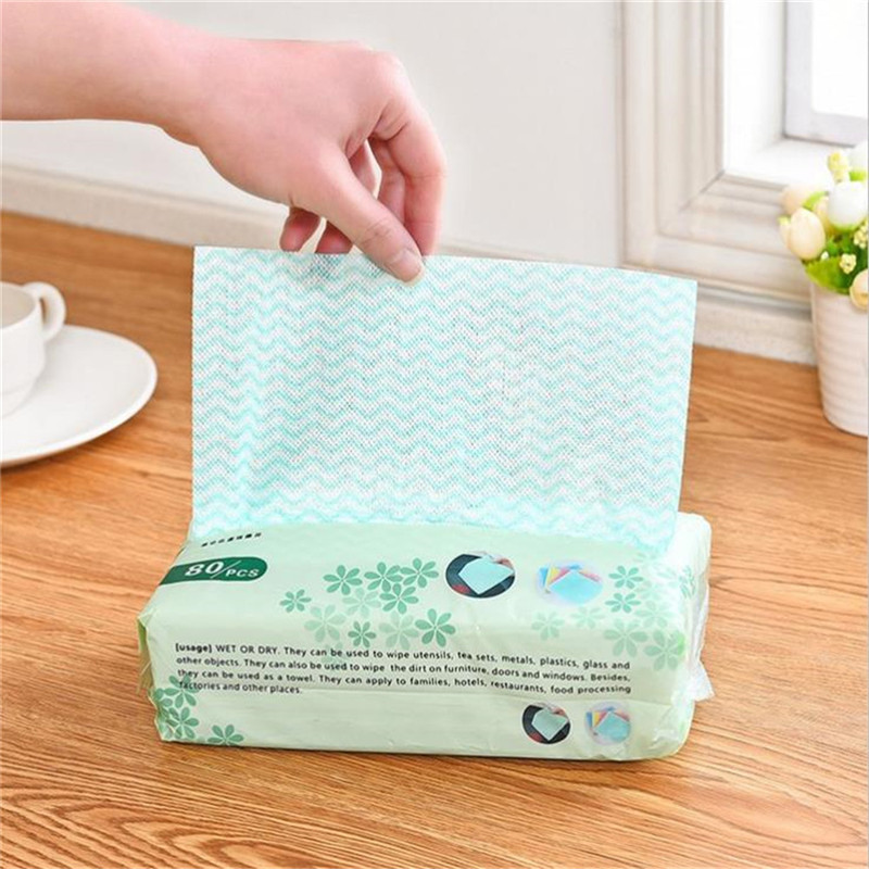80pcs/bag Disposable Green Color Non-woven Fabric Hand/Kitchen Cleaning Cloth Removable Dish Scouring Pad Cleaning Supplies