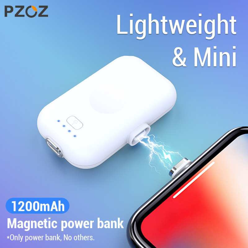 PZOZ แม่เหล็ก Power Bank สำหรับ iPhone Micro USB ประเภท C 1200mAh MINI MAGNET Charger Power Bank สำหรับ iPhone iPad xiaomi Huawei โทรศัพท์