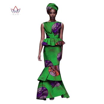 2020 New African Dresses For Women Dashiki Ladies Clothes Ankara O-Neck Africa Clothes Two Pieces Set Natural 6xl None WY1054 - 19, L