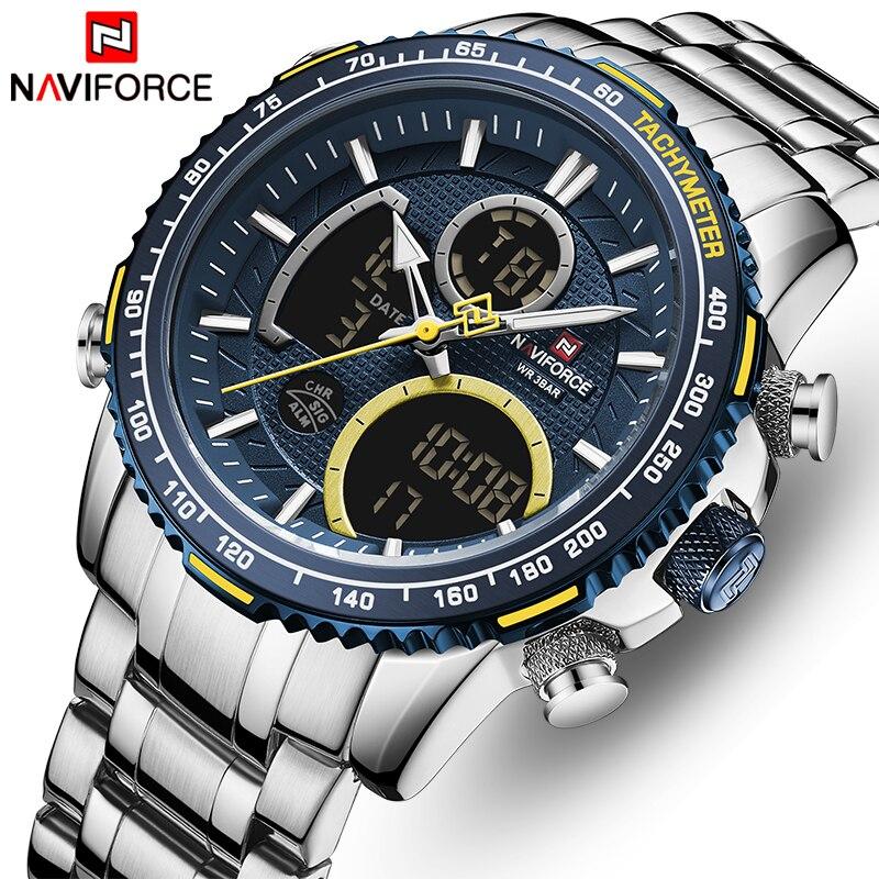 Relogio Masculino NAVIFORCE Лидирующий бренд Для мужчин Военные Спортивные часы Для мужчин s светодиодный аналоговые цифровые часы мужские армейские из...