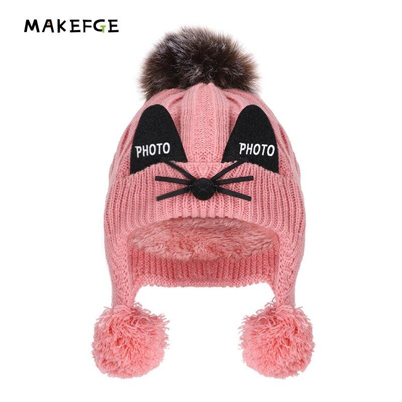 Winter Beanie Hats For Kids Cap Children Boys Girls Faux Fox Fur Pompom Hat Cute Embroidery Skullies Beanies Knitted Warm Caps