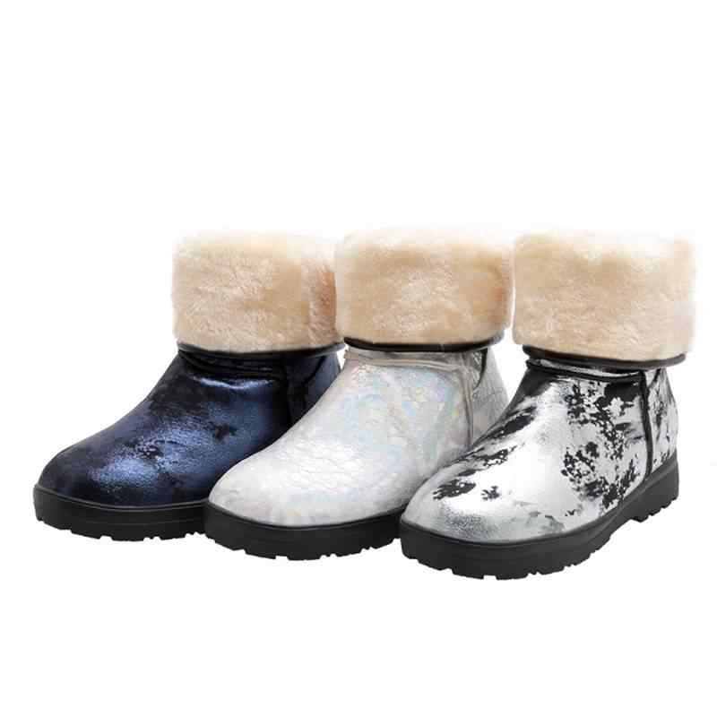 REAVE KEDI Kadın Orta Buzağı Çizmeler kış kar botları Yuvarlak Ayak Akın Düşük topuk Suni deri Kare Kalın Topuk çekme zapatos Büyük boy 33-50 Rahat