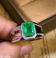 KJJEAXCMY fine jewelry natural Emerald 925 sterling silver new adjustable gemstone men ring support test noble popular