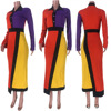 Colors Patchwork Maxi Dresses Women Turn Down Collar Full Sleeve Blouse Dress Fashion Autumn Irregular Elegant Office Lady Dress 4