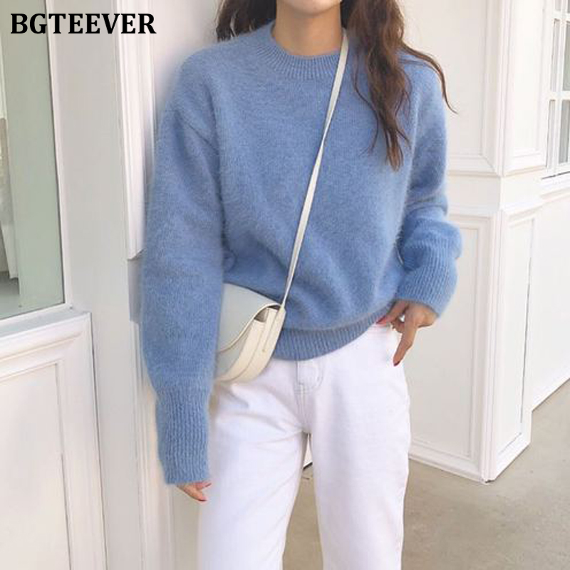 BGTEEVER 2019 Winter Casual All-match Warm O-neck Women Sweater Long-sleeved Female Knitted Jumpers Pullover Sweater Knit Tops