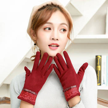 New Female Autumn Winter Cashmere Full Finger Warm Lace Gloves Women Cotton Winter Touch Screen Gloves sparsil women winter velvet touch screen gloves warm fleece full finger cashmere mittens windproof elegant glove female girl