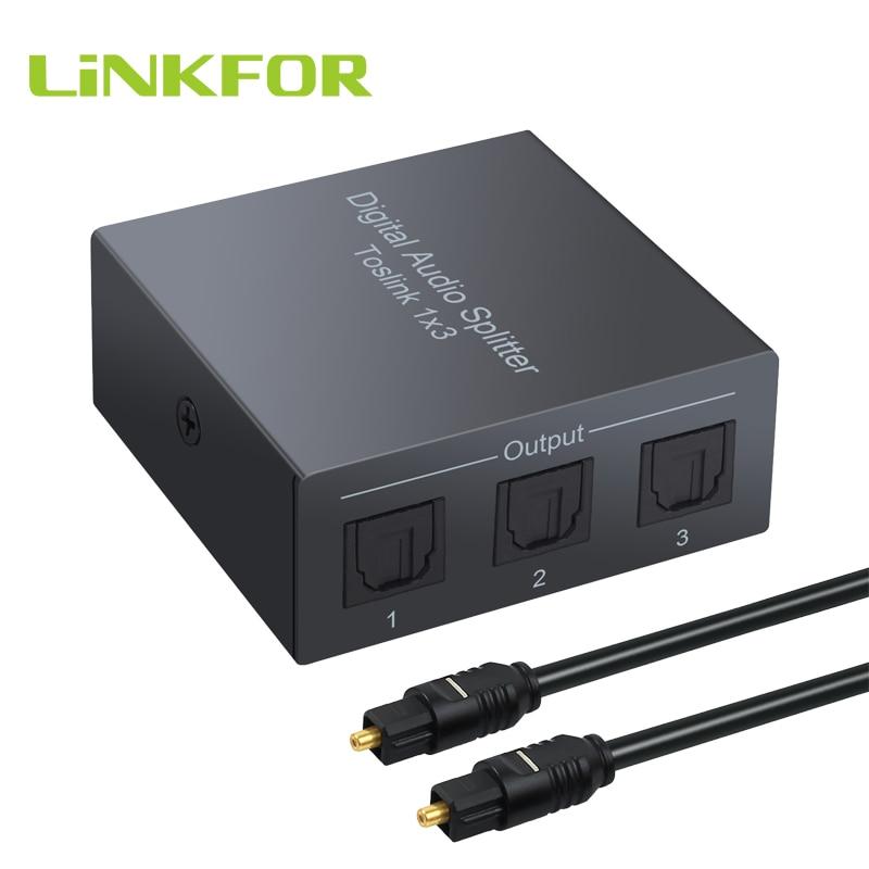 LiNKFOR 3 Way Spdif Toslink оптический цифровой аудио сплиттер один вход 3 выхода поддержка LPCM 2,0/DTS/AC3 аудио коммутатор