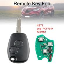 433Mhz 2 Buttons Remote Car Key with PCF7947 Chip and NE73 Blade Fit for Renault New free shipping 1 button remote key case for renault kangoo with battery clip ne73 blade 10piece lot