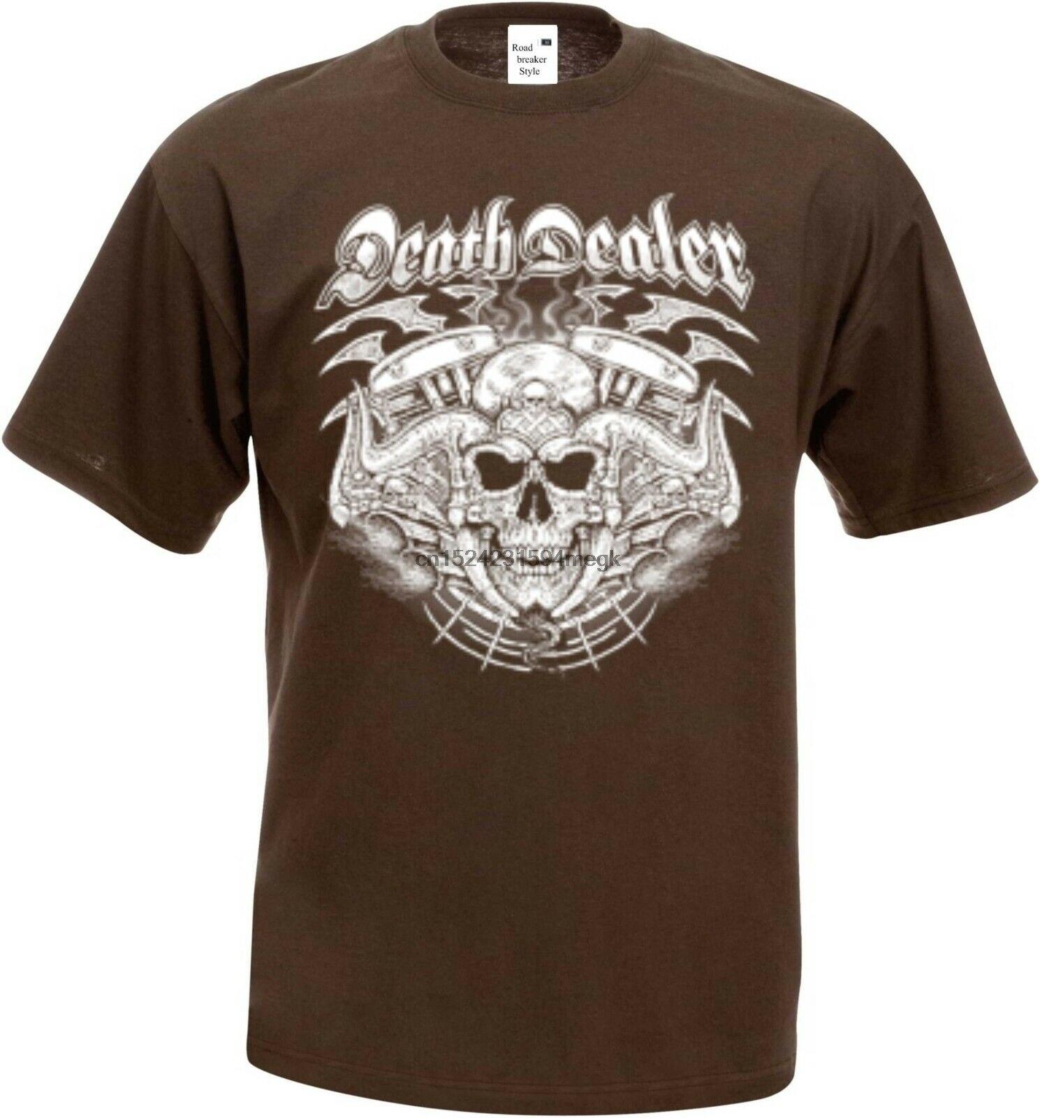 T Shirt im Graphiteton mit einem Gothik-,Biker-/&Tattoomotiv Modell Mexican Skull