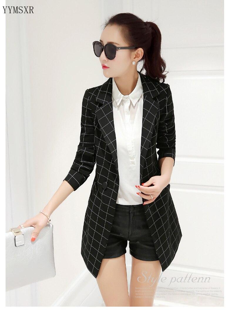 2020 new women's mid-length jacket feminine Autumn and winter Korean casual checked ladies blazer coat Female slim Small suit
