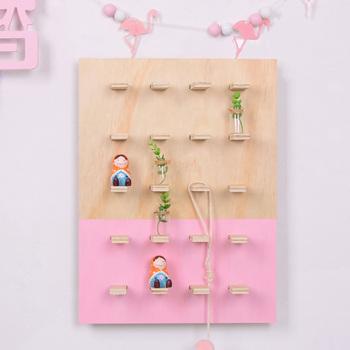 Nordic wielowarstwowy drewniany wieszak półka ścienna kreatywny stojak do przechowywania w domu dekoracje ścienne akcesoria do dekoracji wnętrz tanie i dobre opinie Nowoczesne Drewna Do Montażu Na Ścianie Nordic Multilayer Wooden Hanging Rack Wall Shelf White Pink Grey Carton Box+Bubble Bag