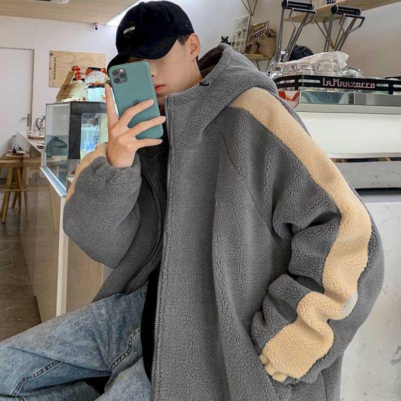 Hong Kong style cotton coat cashmere coat men winter Korean version cotton blanket male youth hot wool hat