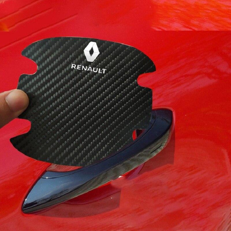 4 шт кожаные наклейки на дверную ручку автомобиля renault koleos