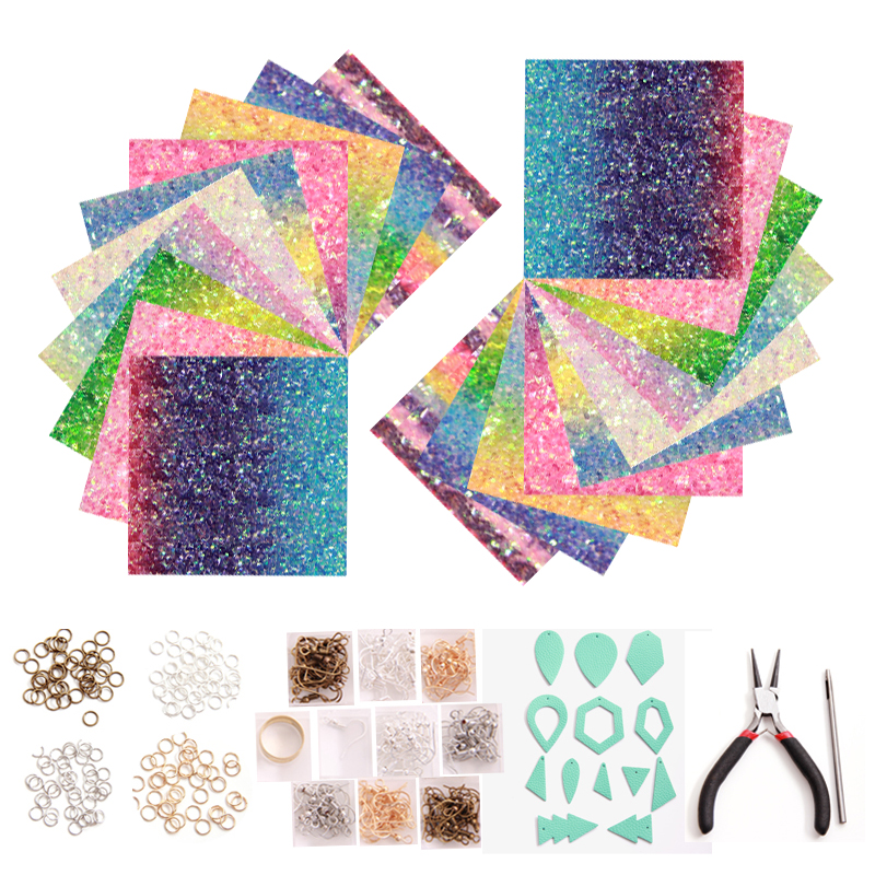 Rainbow Pu Leather Sequins Earrings Findings Gradient Jewelry Suit Set For DIY Earings Making Clasps Hooks Jump Ring Connectors