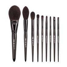 Benim kader 9 makyaj fırçası seti doğal siyah ahşap keçi saç pudra fosforlu göz farı makyaj fırçası