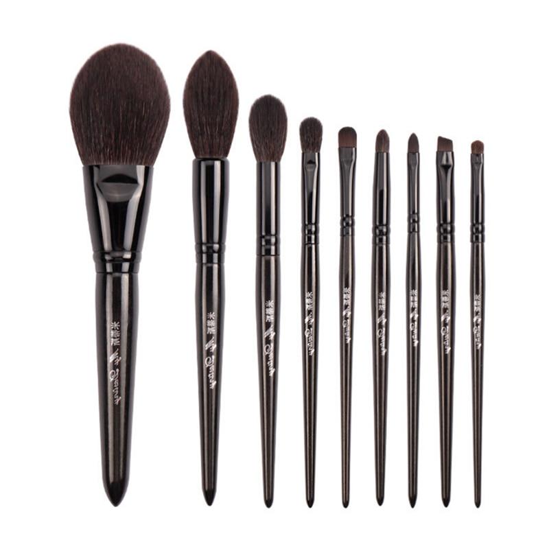 My Destiny 9Pcs Makeup Brushes Set Natural Black Wood Goat Hair Powder Highlighter Eyeshadow Make up BrushEye Shadow Applicator   -